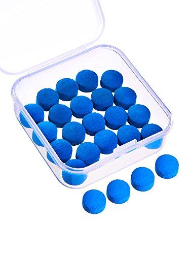 Gejoy 20 Stück Queue Tipps 10 mm Pool Billard Ersatz Tipps mit Aufbewahrungsbox für Pool Queues und Snooker, Blau