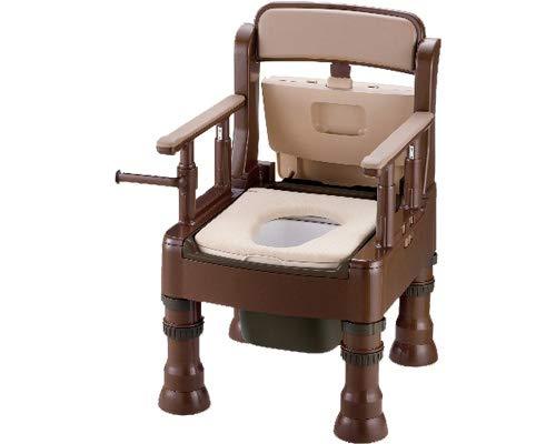ポータブルトイレ きらく ミニでか 片付け簡単 40036 やわらか便座 MY型 ダークブラウン (リッチェル)