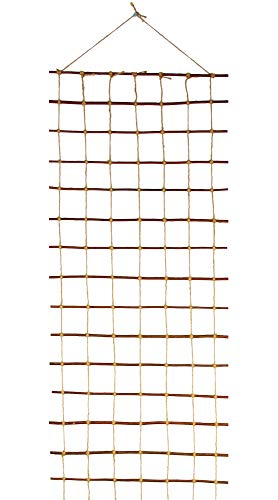 Floranica Trellis, Lattice - natural, organic support for garden vegetables or flowers, made from cooked untreated willow and jute string: length: 200 cm, width:50 cm