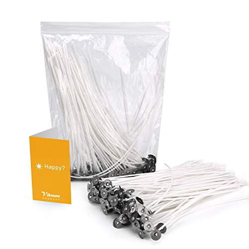 100PCS Candle Wicks, Nature Cotton Candle Wick for Soy, Paraffin& Beeswax Candle Making, 6 Inch Pre-Waxed Candle Wicks by Low Smoke& Slow Burning Design, Ideal Candle Wax Wicks for Artists& DIY