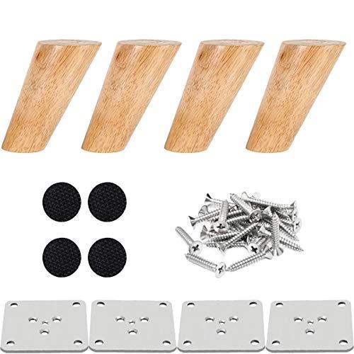 Drenky 4 piezas 12cm patas de madera para muebles patas de mesa de madera maciza cónica patas de sofá oblicuas patas de repuesto para muebles con placa de montaje tornillos y protector antideslizante