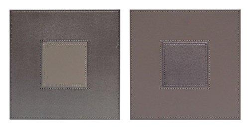 iSTYLE Lot de 4 sets de table carrés réversibles en simili cuir avec coutures grises