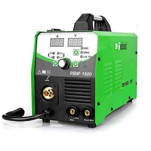 Reboot MIG Welder Gas/Gasless,MIG160 4 in 1 Flux Core/Solid Welding 220V,Digital Multiprocess Inverter MIG/Stick/TIG Welder Machine Supports 2LB/10LB Wire