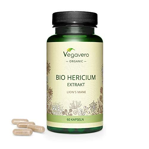 BIO Melena de León Vegavero®   7500 mg   Estandarizado a 50% de Polisacáridos   Sin Aditivos   Testado   Sistema Inmunológico + Estrés & Ansiedad + Adaptógeno   Hericium   60 Cápsulas