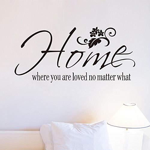 Dormitorio sala de estar Lema en inglés hogar donde estás decorativo Las pegatinas de pared se pueden quitar -26 * 57 cm