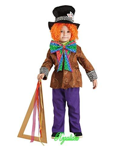 PRESTIGE & DELUXE Costume Vestito Carnevale CAPPELLAIO Matto Taglia 3 4 5 6 7 8 Anni Alice nel Paese delle Meraviglie (3-4 Anni: Altezza Bimba/o 104 cm)