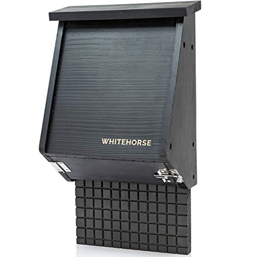 WHITEHORSE 4-Chamber Bat House - A Premium Cedar Bat Box That is Built to Last - Enjoy a Healthier Yard with Fewer Mosquitos While Supporting Bats (Black)