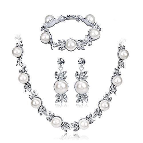 SFQRYP Collar de Novia Ropa de Boda con Collares Paquete de Joyas Temperamento con Collar de Novia Perla Collar Anillo de Oreja Pulsera Juego de Tres Piezas (Color : A)