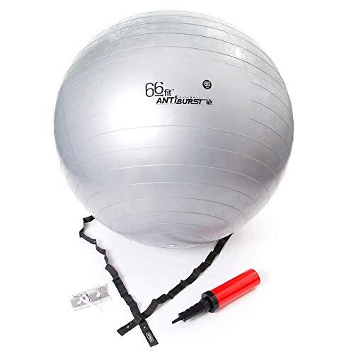 66FIT Bola de la Gimnasia con Bomba - Plata, 65 cm