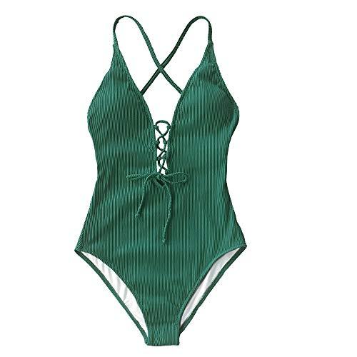 Brócoli21 Traje de baño de una Pieza sólido Mujeres sin Espalda Cuello en V Cuello con Cordones Sexy Body 2021 Nuevo Traje de baño de Playa Traje de baño Traje de baño de Mujeres