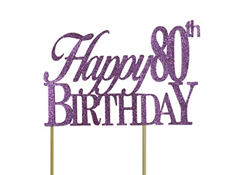 All About Details Purple Happy-80th-birthday Cake Topper, 6 x 8