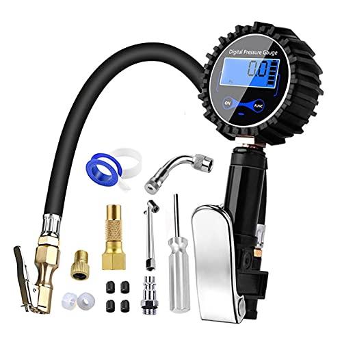 ZHFEN 200 PSI Neumático digital Inflador de pistola con manómetro compatible con camión de automóvil Camión de automóvil Neumático Inflador Air Herramientas de aire LCD Atrás Luz de neumáticos Medidor