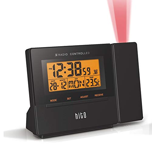 HITO Atomic Radio Controlled Projection Alarm Clock w/Date, Temperature, Week,...