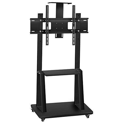 Soporte de escritorio para TV de acero inoxidable para televisores de 40 & mdash; 65 pulgadas, soportes de piso de TV negros sobre ruedas Ruedas de hasta 150 kg Altura de inclinación ajustable, VESA m