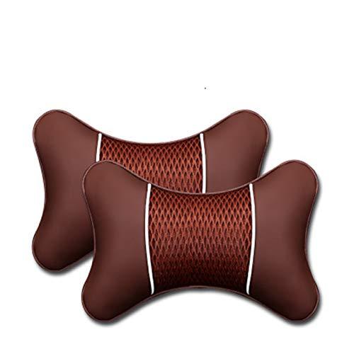 XIAOXU MIN 2 unids PU cuero hechos punto almohadas almohadas reposacabezas cuello de descanso amortiguador soporte asiento accesorios auto negro de seguridad almohada universal decoración universal
