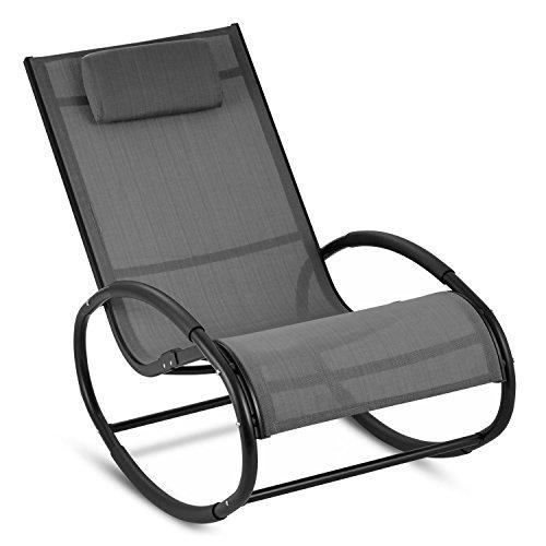 blumfeldt Retiro - Fauteuil à Bascule Relaxant en Aluminium Rocking Chair avec Coussin appuie-tête (Protection Caoutchouc sur accoudoirs, Surface Polyester résistante) – Gris