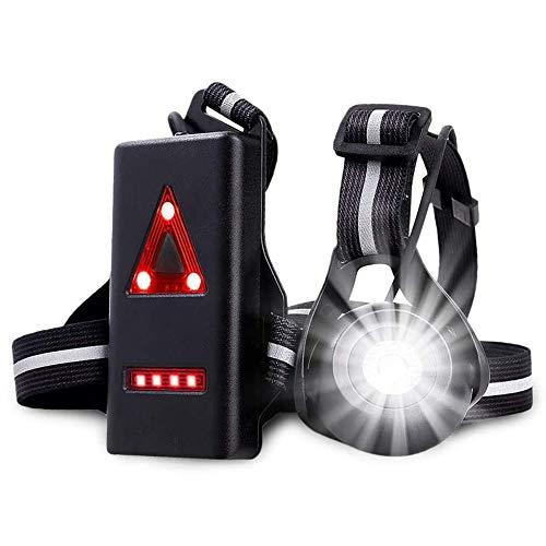 Luz para Correr Running Lámpara de Pecho con Haz Ajustable Frontal LED de Alta Visibilidad y Tira Reflectante Muy cómoda y Ligera de Seguridad Trasera Recargable USB Impermeabl