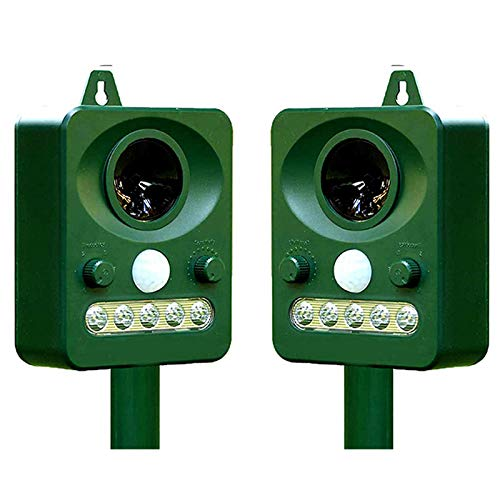 Camisin Solar Powered Animal Deterrent - 2 Pack. Eco Friendly Ultrasonic Device Humanely Scares Away Unwanted Animals From Your Property - Dogs, Cats, Skunk, Birds, Wild Animals