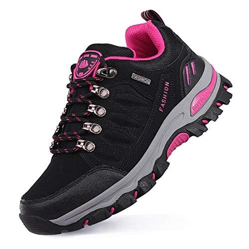 LSGEGO Unisexe Chaussures de randonnée en Plein air Bottes de randonnée Voyages décontractés Marche Bottes d'escalade Unisexe Respirant étanche Couples Chaussures,Noir rose,38 EU