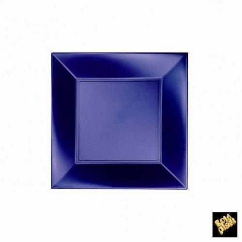 8 Assiettes à dessert plastique bleu perle 18 x 18 cm