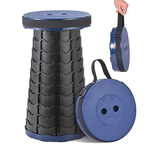 Sgabello pieghevole telescopico da campeggio capacità 150 kg altezza regolabile sedia portatile per interni ed esterni perfetta per camminate, pesca, barbecue CP042