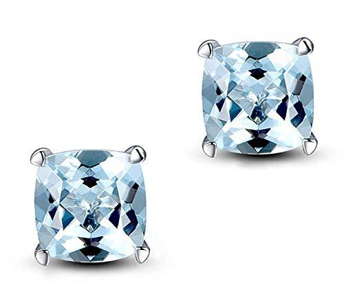OUHUI Novelty Jewelry-925 Sterling Silver Women Stud Earrings with Cushion-Cut Blue Faux Topaz Decemebr Birthstone