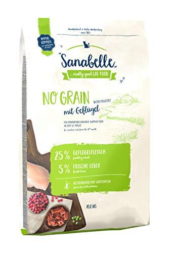 Sanabelle No Grain mit Geflügel | Katzentrockenfutter für ernährungssensible Katzen | 1 x 10 kg
