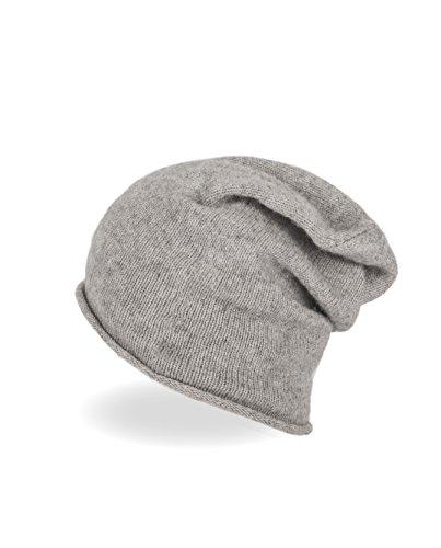 CASH-MERE.CH 100% Kaschmir Beanie Mütze | Strickmütze für Damen und Jugendliche (Grau)