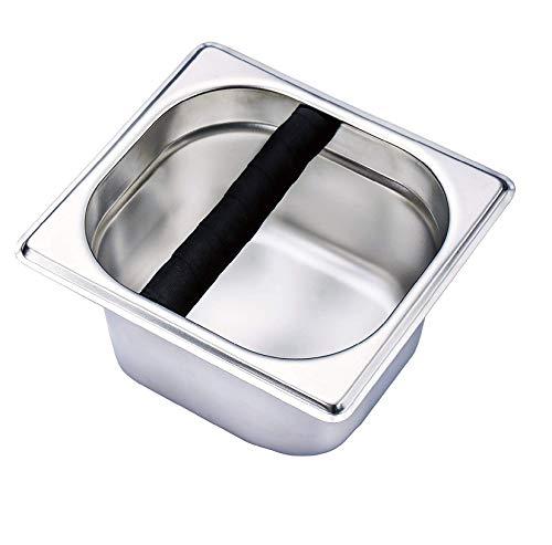 Jzhen Caja de Golpe de Espresso de Acero Inoxidable, Coffee Knock Box,Caja...
