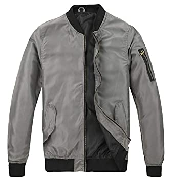 MADHERO Mens Bomber Jacket Lightweight Slim Fit Softshell Windbreaker Grey L