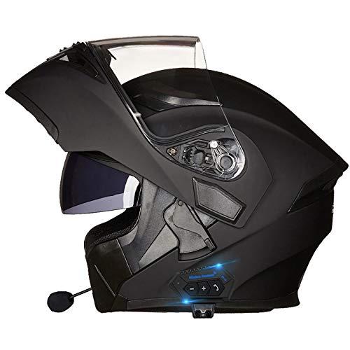 Bluetooth Casco Moto,Casco Moto Modular ECE Homologado,Doble Visera Casco Moto Abatible,Unisexo para Motocicleta Bicicleta Scooter Cascos de Moto Modulares