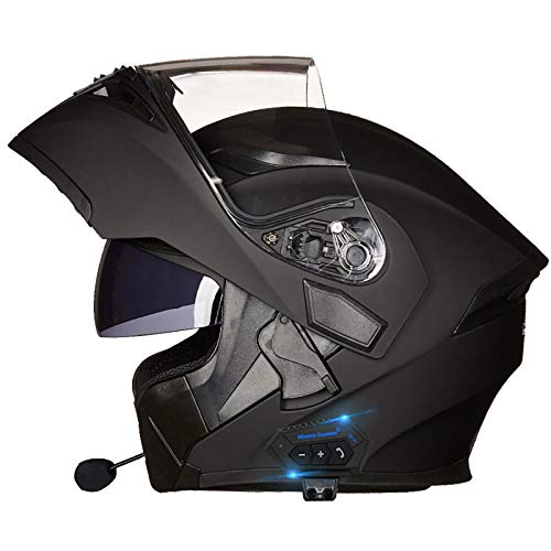 Bluetooth Casco Moto - Caschi Modulari per Apribile Casco da Moto Impermeabile con Interfono Bluetooth Integrale con Doppia Visiera per Risposta Automatica,ECE/DOT Omologato D,M