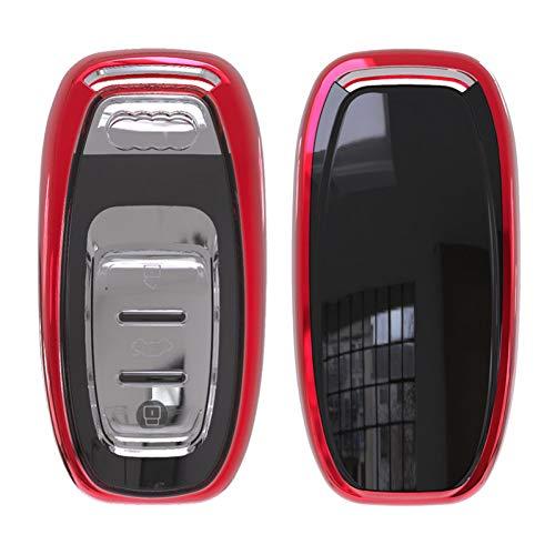 KJHKJH - Custodia morbida in poliuretano termoplastico, per Audi A4 A4L A5 A6 A7 A8 Q5 S5 S6 Rs7, custodia protettiva per chiave auto, C-Rosso