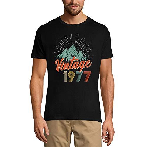 Ultrabasic Camiseta para hombre vintage 1977 – Retro 44 cumpleaños regalo camiseta - negro - Medium