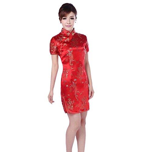 Hzjundasi Mujer Tradicional Chino Dragón Fénix Impreso Brocado Qipao Vestido de Noche Mangas Cortas Cheongsam M