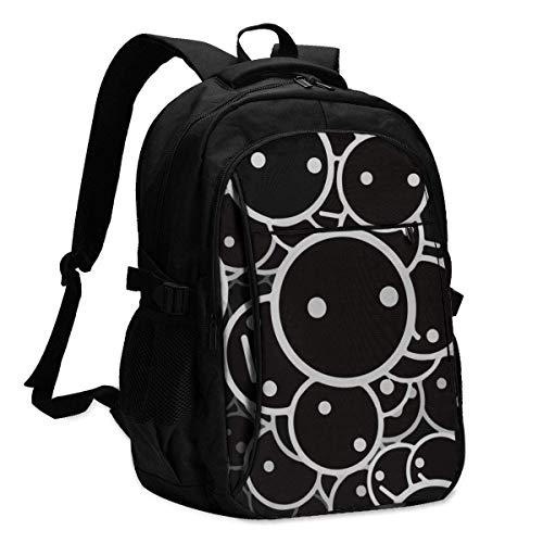 XCNGG Cute Black Face Travel Laptop Mochila College School Bag Mochila Informal con Puerto de Carga USB