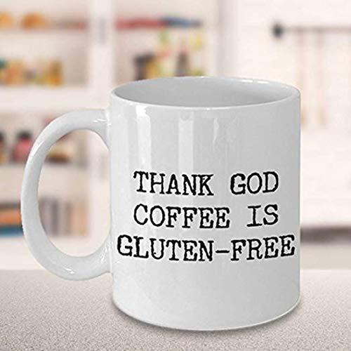 Taza de café sin gluten con texto en inglés 'Thank God Coffee is Gluten Free Gluten Free Coffee Mug Funny Ceramic Gluten Free Coffee Cup