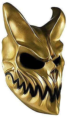 Oni Devil - Máscara de Halloween japonesa tradicional para disfraz de demonio (oro, material de PVC con boca móvil)