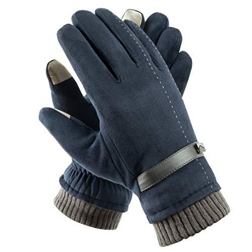 Acdyion Herren Winter Touchscreen Handschuhe Outdoor 2018 Neues Design Super Soft Wildleder Handschuhe Outdoor Fahrradhandschuhe für Dickes Fleece-Futter, Blau, Einheitsgröße