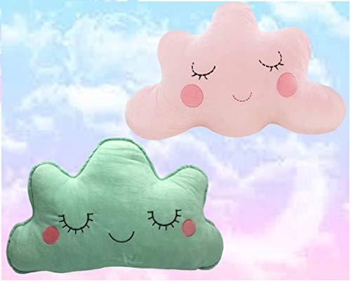 jeny Pack de 2 Cojínes Suave de Felpa Fina, con Forma de Nube, Especial para bebés, 50x30 ojito Cerrado y Abierto Color Rosa. Almohada Suave Relleno bebé cojín Nube Sonrisa (Verde-Rosa)