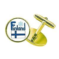 フィンランドの国旗青いパターン スタッズビジネスシャツメタルカフリンクスゴールド