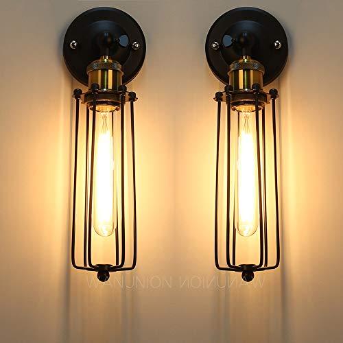 2 Pcs Lámparas Apliques de Pared Luces Clásicas Iluminación Ajustable Jaula de Metal Bañadores de pared Retro Rústico Escalera Dormitorio Espejo Hotel