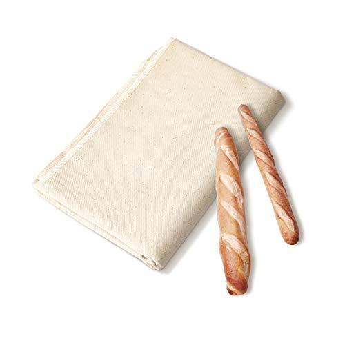 AIEVE Bäckerleinen Leinentuch Teigtuch Gärtuch aus Natur Leinen Küchenhelfer für Baguette Brotteig Französischem Brot Brötchen Teig(120 x 75cm)