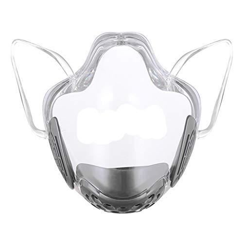 Generic Máscara Facial Transparente para Adulto, Proteção Facial Protetor Bucal Reutilizável Lavável E Transparente com Filtro Respirável Proteção Facial - Cinza