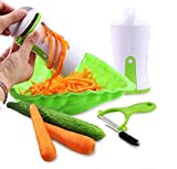 Cortador de verduras manual en espiral 2 en 1 cortador manual de vegetales Veggetti en espiral, utensilio de cocina para cortar pepino, zanahoria, calabacín, verduras y fideos con cepillo de limpieza