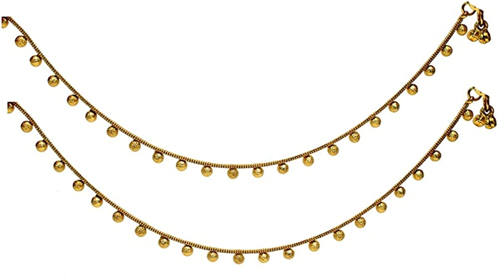 Indian Anklets Gold Foot Bracelet Payal Jhanjar Jewelry Jewellery/Traditional Bollywood Panjeb Jewelry