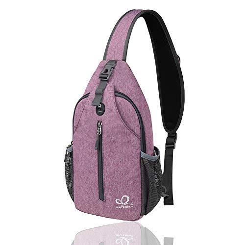 WATERFLY Sling Rucksack Sling Bag Schultertasche Crossbody Umhängetasche Sporttasche Herren Damen für Wandern, Radfahren, Bergsteigen, Reise Daypack
