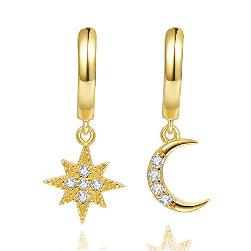 Aretes con forma de argolla Star Moon, pendientes de plata de ley de 14 quilates chapados en oro, pequeños pendientes CZ Evil Eye para mujer o niña (Oro)