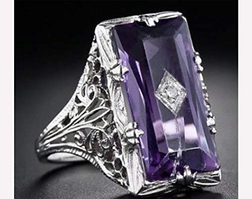 Metmejiao Vintage Women 925 Silver Ring Purple Gemstone Party Wedding Engagement Jewelry Cocktail Party Bridal Engagement Hollow Engraving Band (7)