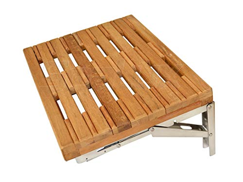 SeaLux 18' x 13' Wall-Mount Folding Shower Bench in Teak Board